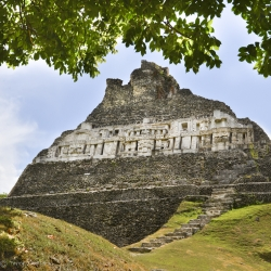 Xunantunich Mayan ruin with detailed stucco friezes