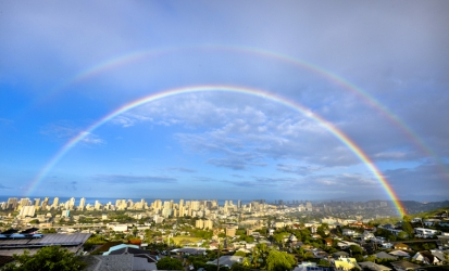 Double Rainbow over Honolulu, Oah'u