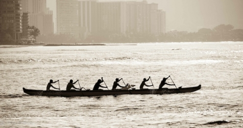 Outrigger Canoe Oah'u - early morning practice out of Ala Wai Harbor