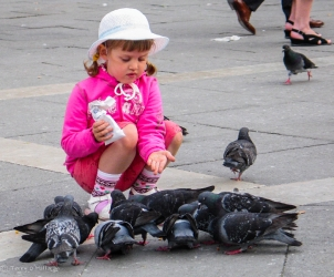 Girl Feeding Birds, Venice, Italy