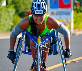 Woman of tremendous strength doing the Honolulu Marathon