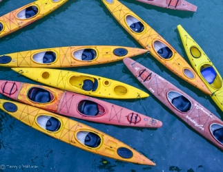 Kayaks as seen from junk in the South China Sea